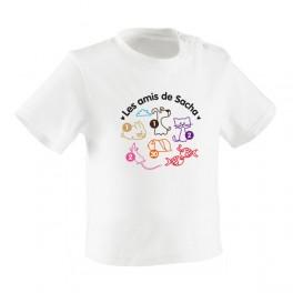 "T-shirt coton blanc BEBE ""Mes animaux"""